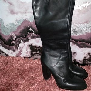 Tall Black Leather Boots Size 9